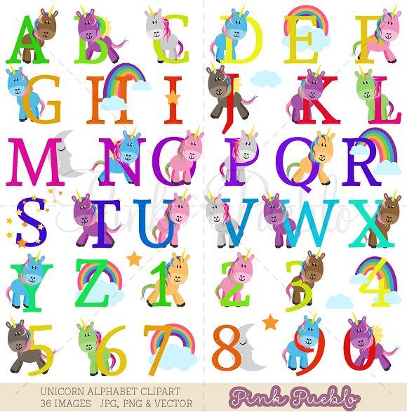 Uppercase Unicorn Alphabet Clipart