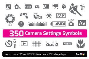 350 Camera Settings Symbols