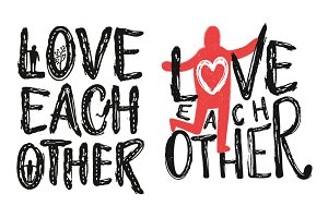 Love each other typography set