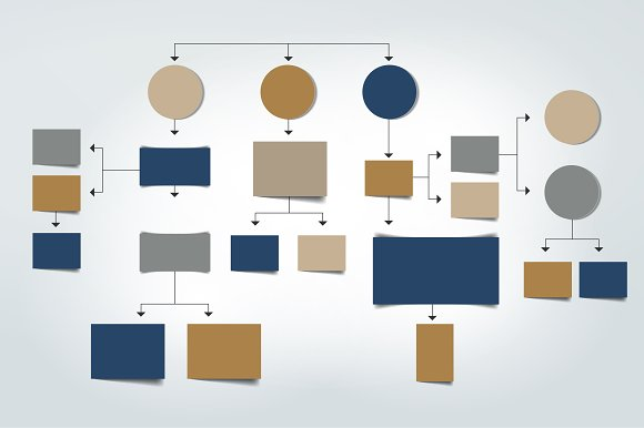 Flowchart.Blue Colored Shadow Scheme