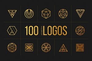100 Linear Geometric Logos. Bundle