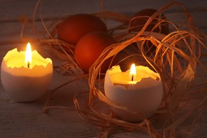 Rustic composition with eggs.