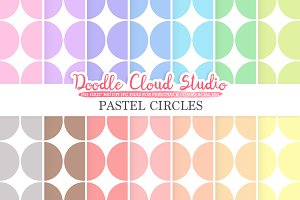 Pastel Retro Circles digital paper
