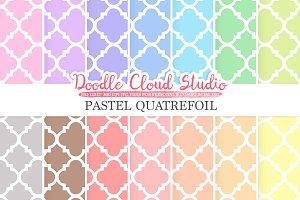 Pastel Quatrefoil digital paper