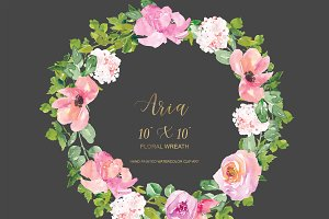 Watercolor Blush Hydrangea Wreath