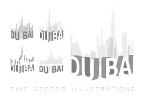 Dubai skyline illustrations