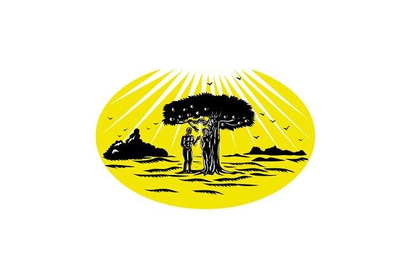 Adam And Eve Serpent Tree Woodcut