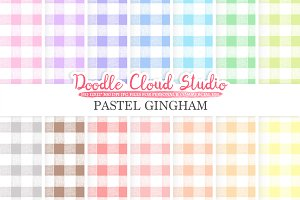 Pastel Gingham digital paper