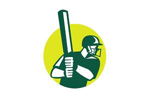 Cricket Batsman Batting Icon Retro