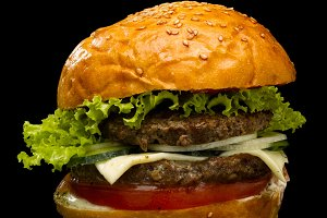 Burger on a black background