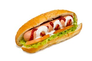 Hot-dog on a white background