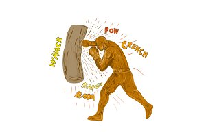 Boxer Hitting Punching Bag Drawing