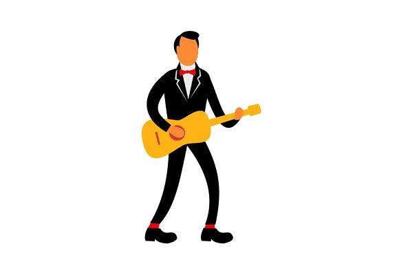 Guitarist In Tuxedo Playing Guitar R