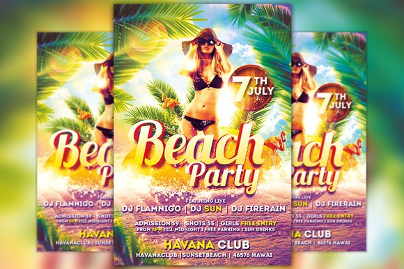beach party flyer template vol 2 flyer templates creative market