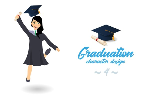 Graduating Student Girl Jumping
