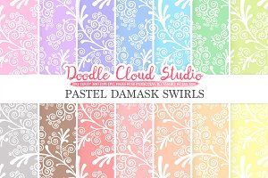 Pastel Damask Swirls digital paper