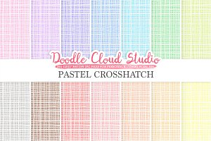 Pastel Crosshatch digital paper