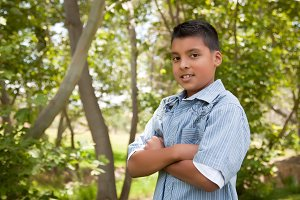 Young Hispanic Boy Portrait Outdoors