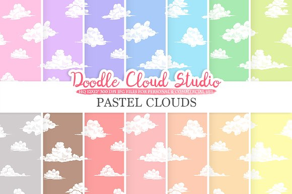 Pastel Clouds Digital Paper