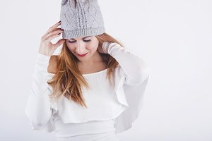 smiling girl with winter hat