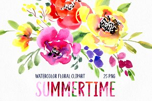 Bright Watercolor Summer Flowers
