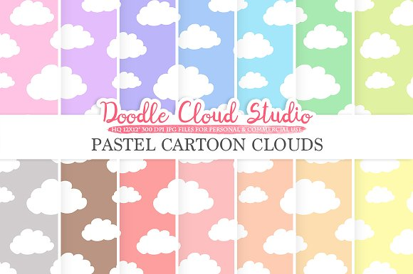 Pastel Cartoon Clouds Digital Paper