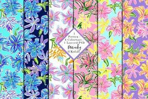 Preppy Floral Seamless Pattern PSD