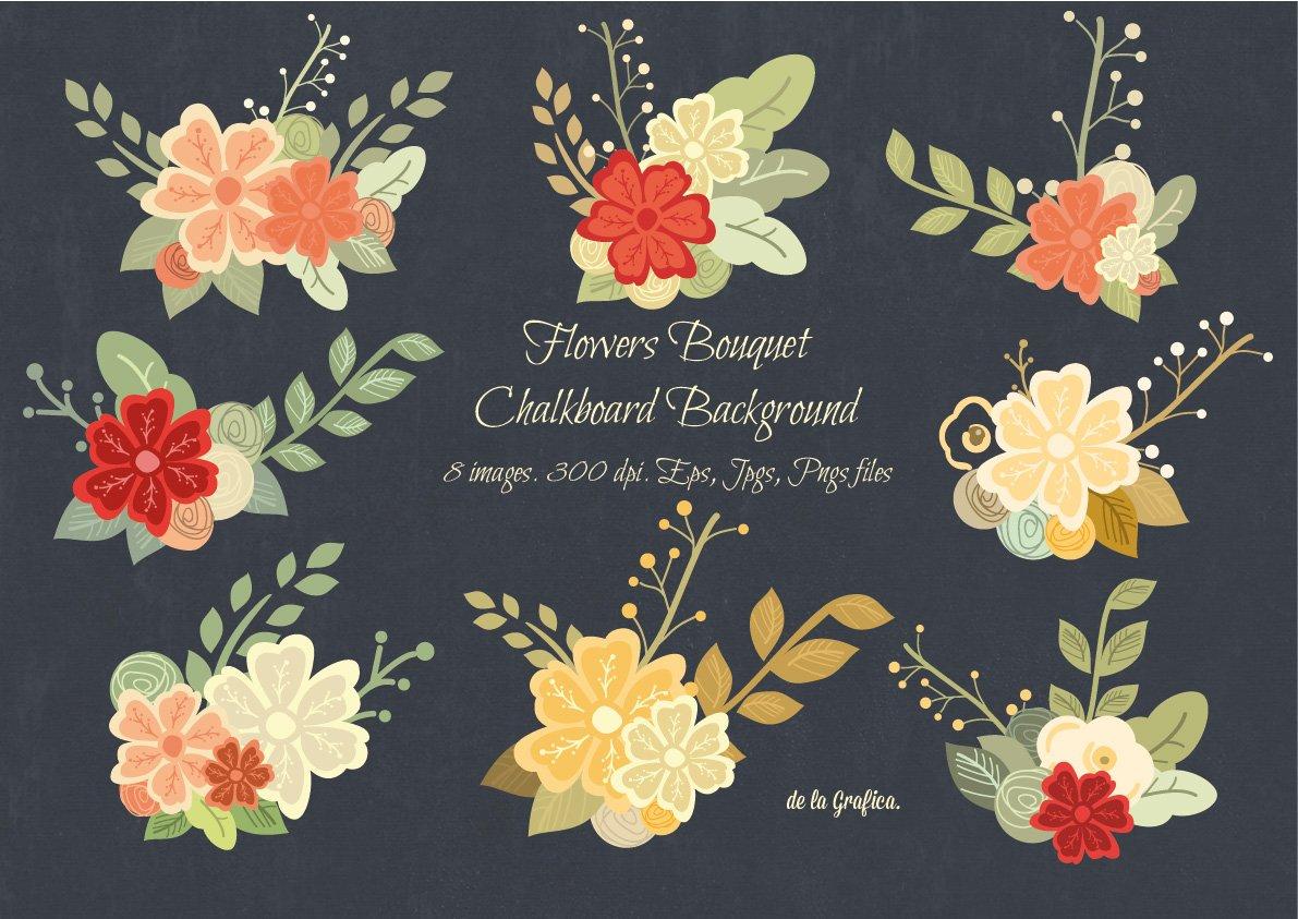 Flower bouquet chalkboard background illustrations creative market izmirmasajfo