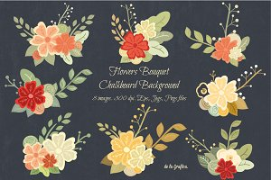 Flower Bouquet Chalkboard Background
