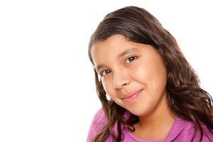 Hispanic Girl Portrait on White