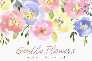 Gentle Watercolor Pastel Flowers
