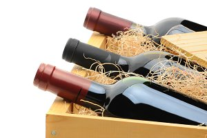 Red Wine Bottles in Crate