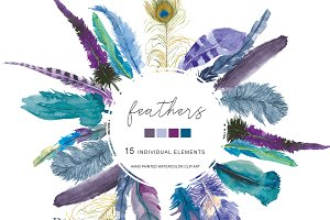 Watercolor Purple Feather Clip Art