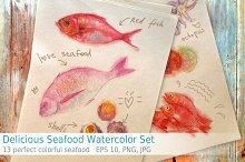 Delicious Seafood Watercolor Set