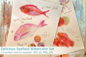 Delicious Seafood Watercolor Set
