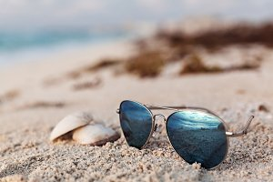 Closeup Of Blue Sunglasses