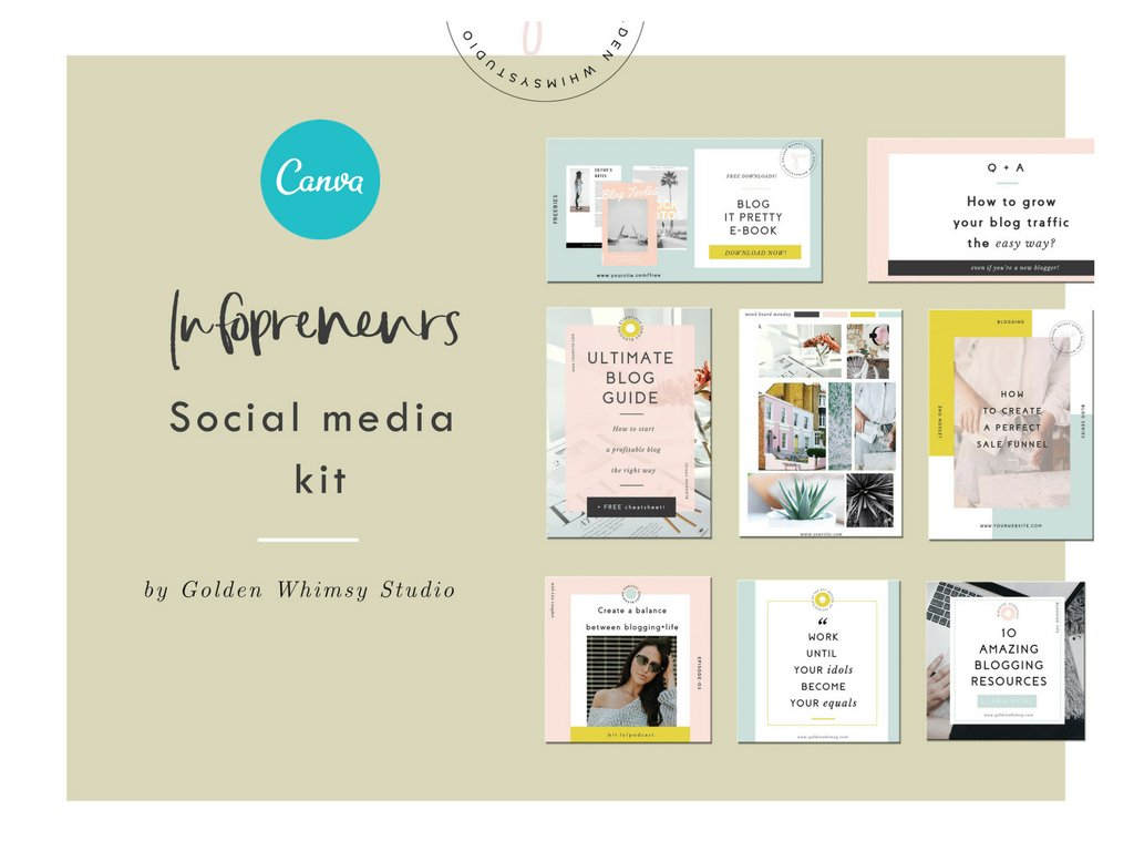 Canva infopreneur kit social media templates creative market pro for Media kit canva