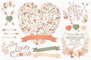 Peach Floral Heart & Banner Vectors