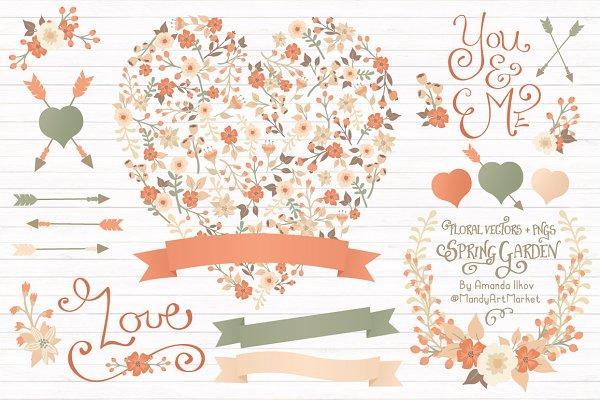 Peach Floral Heart & Banner Vectors