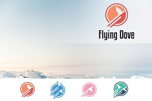 Flying Dove Pigeon in Circle Logo