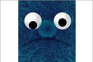 furry blue monster vector