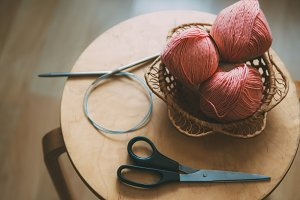 Crochet. Yarn in the basket