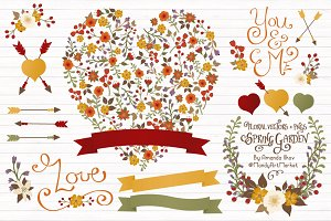 Autumn Floral Heart & Banner Vectors