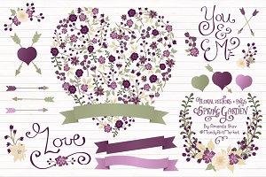 Plum Floral Heart & Banner Vectors
