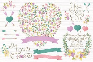 Garden Party Floral Heart & Banners