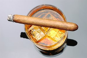 Cigar on Whiskey High Angle