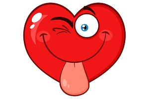 Winking Red Heart Cartoon Character