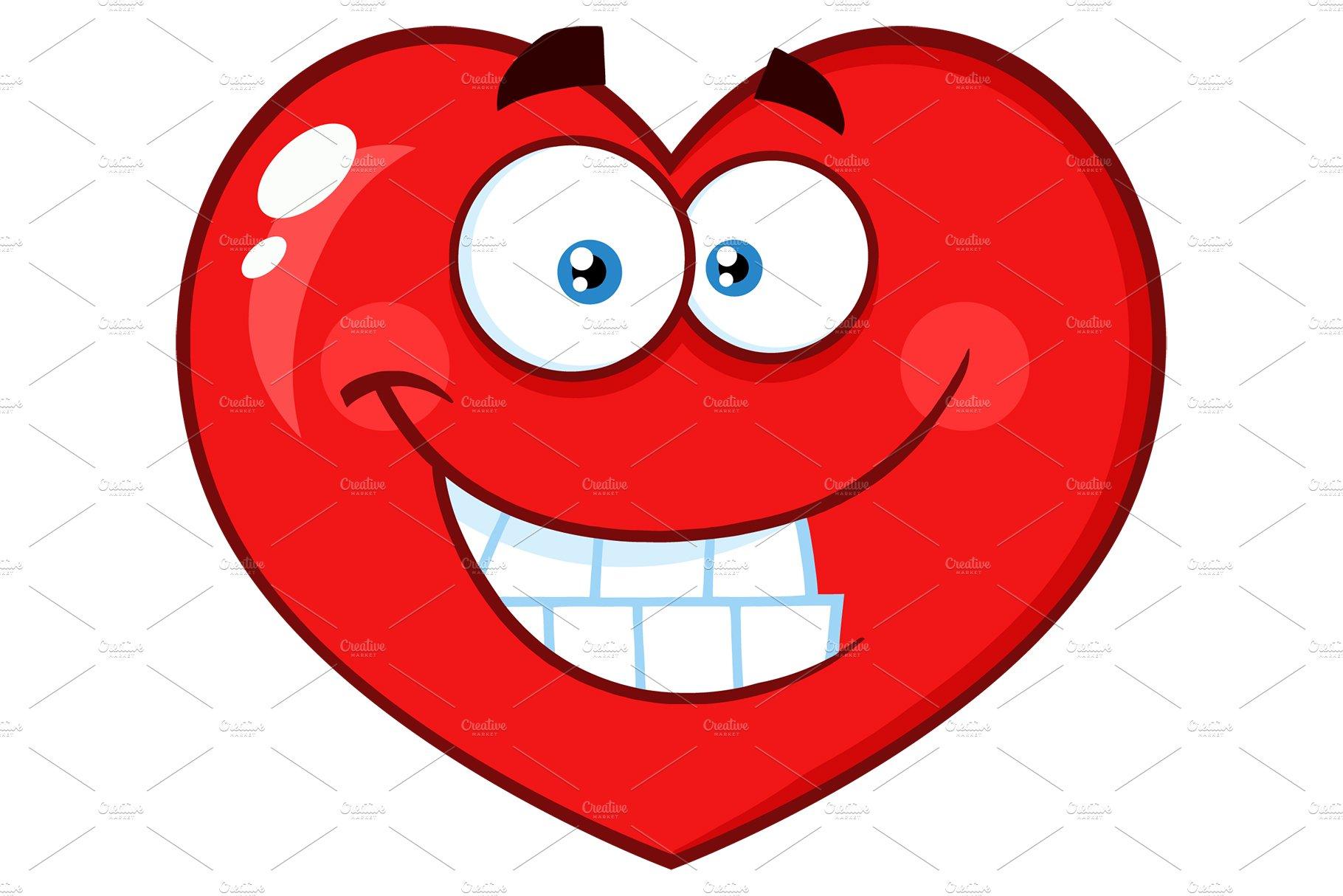 smiling red heart cartoon emoji face ~ illustrations ~ creative market
