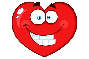 Smiling Red Heart Cartoon Emoji Face