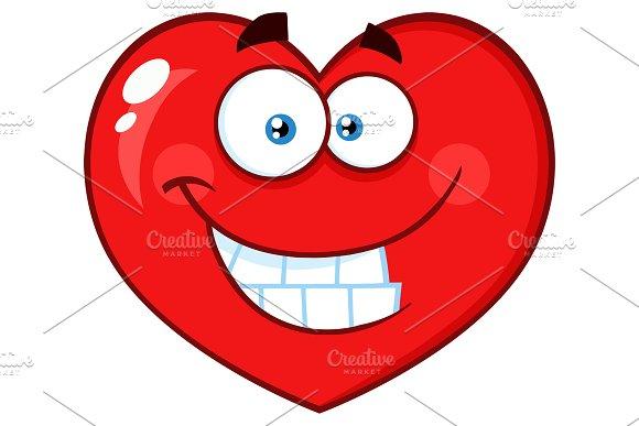 Smiling Red Heart Cartoon Emoji Face